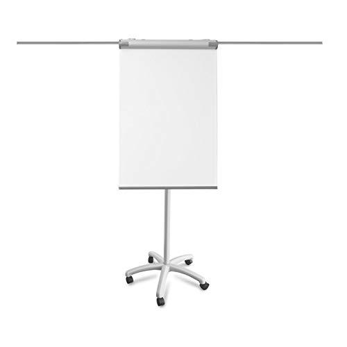 Chevalet de conference Master of Boards® paperboard + tableau blanc magnétique | hauteur réglable | bras aimantés pliables | Piranha, 105x67cm (hauteur max.225cm)