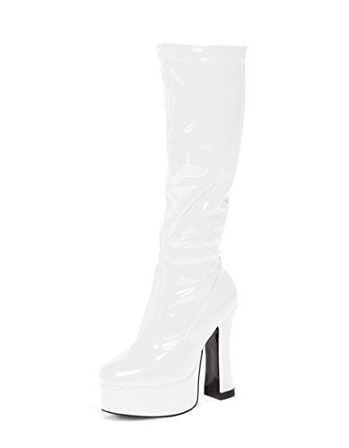 Kostüm Kniehoch Plateau Stiefel 60s 70s Retro Look GoGo-Stiefel - Weiß, 4
