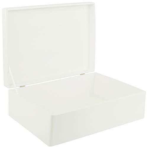 Creative Deco XL Grande Blanc Boîte de Rangement en Bois | 40 x 30 x 14 cm | Caisse Coffre Malle à Décorer avec Couvercle | Plusieurs Couleurs | Parfait pour Jouets, Outils, Documents
