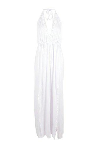 blanc Hommes Harmony Halterneck Crochet Trim Robe Blanc