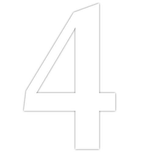Haus-nr. (Zahlen-Aufkleber Nr. 4 in weiß I Höhe 5 cm I selbstklebende Haus-Nummer, Ziffer zum Aufkleben für Außen, Briefkasten, Tür I wetterfest I kfz_462_4)