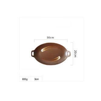 Fiesta en céramique de style japonais rectangulaire Sushi Poisson Plat Carré Tempura Assiette Sushi plate Tablrware : 33 cm plaque d'oreille B