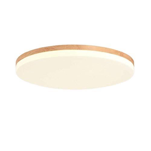 Azanaz Deckenleuchte Holz Bad Deckenlampe Sora Wood mit warmweißem Licht in Holzoptik - Deckenstrahler für Badezimmer (Rund-48 * 48cm-39W)