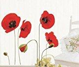 elegantstunning Wandaufkleber Sticker Rote Mohnblumen Entfernbare Transparente Kunst