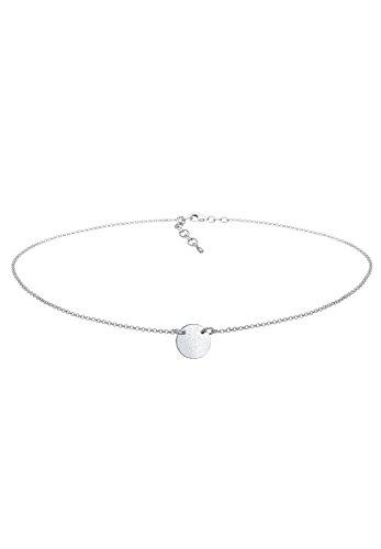Elli Damen Halskette Choker Kreis Plate Matt Geo Plättchen in 925 Sterling Silber - 36cm Länge