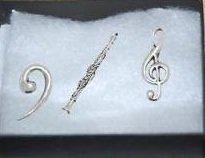 Coffret cadeau de 3 Pin's en étain pour clarinette-Music, Musique Solfège Note de musique Clé de fa,