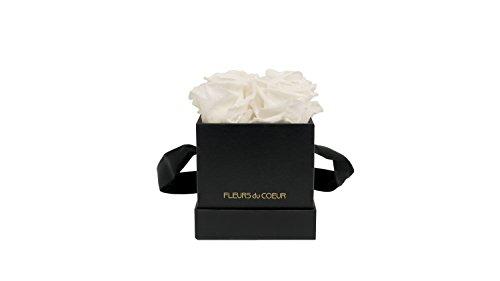 FLEURS du COEUR Infinity Blumen - schwarze RosenboxLe Carré eckig mit weißen Rosen