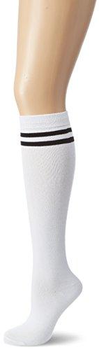 Urban Classics Damen Kniestrümpfe Ladies College Socks, Mehrfarbig (Wht/Blk 224), 40/41 (Herstellergröße: 40-42)