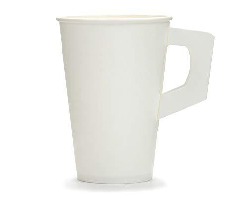 500x gobelet en papier avec poignée, tasse à café, tasse à café, tasse à vin chaud ou tasse à vin chaud ou tasse à poignée blanche avec un volume de remplissage de 200 ml