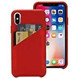 nger handgefertigt Slim Fit Echtes italienisches Leder Hartschale Schutz Hülle Cover Schutzhülle zum Aufstecken mit 2Karte Halter Slot für Apple iPhone X 10(2017Release), rot ()