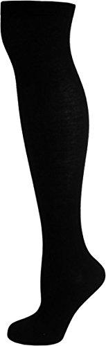 normani® Damen Overknees Geringelt, Blickdicht mit vielen Farbmustern Farbe Schwarz