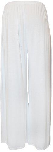 WearAll - Übergröße Damen Palazzo Weite Bein Hosen - 5 Farben - Größen 44-54 Weiß