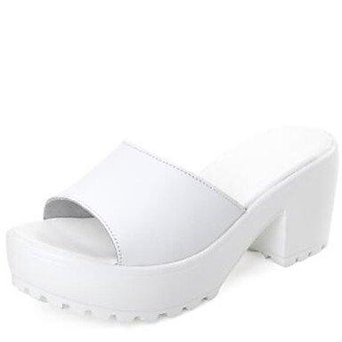 LvYuan Da donna-Sandali-Tempo libero Formale Casual-Altro Comoda-Quadrato-Di pelle-Nero Bianco White