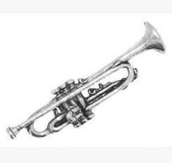 Cadeau Emballé dans une boîte en étain Musique musicien Trompette Cravate–Épinglette/broche/badge