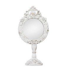 Specchio bianco da com• ornata di fregi con fiocco centrale in legno stile vintage L'ARTE DI NACCHI AD-193