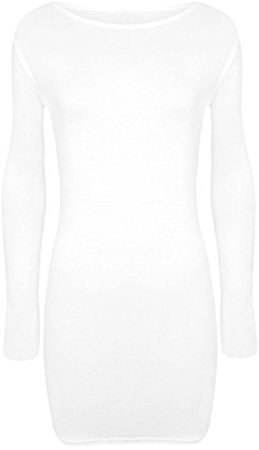 Fashion 4 Less - Robe - Moulante - Manches Longues - Femme Blanc - Blanc