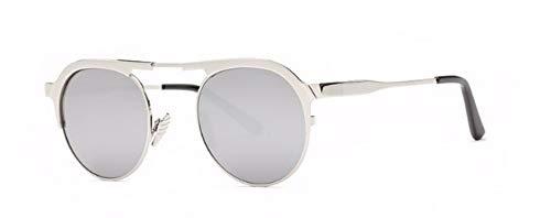 ZJMIYJ Sonnenbrillen Italien Designer Sonnenbrille Frauen Super Light Flex Metall Spiegel Oval Sonnenbrillen für Lady Silver