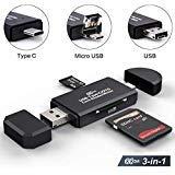 SD-Kartenleser, Micro SD/TF Compact Flash Kartenleser mit 3 in 1 USB Typ C/Micro USB Stecker Adapter und OTG-Funktion, tragbarer Speicherkartenleser für & PC & Laptop & Smartphones & Tablets (USB 2.0) (Compact-flash-usb-reader)