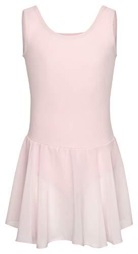 Rosa Kostüm Belle - tanzmuster Kinder Ballettkleid Bella aus Baumwolle, breite Träger, Chiffon Rock und besonderer Rückenausschnitt in rosa, Größe:128/134