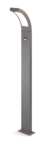 Moderne LED Sensor Wegeleuchte Lichtfarbe warmweiß 3000K, Leistung 6,5 Watt 520 lm, Einstellbarer Bewegungsmelder mit max. 9m Reichweite, (B x H x T): 8,4 x 100 x 17,6 cm, Pollerleuchte 201174