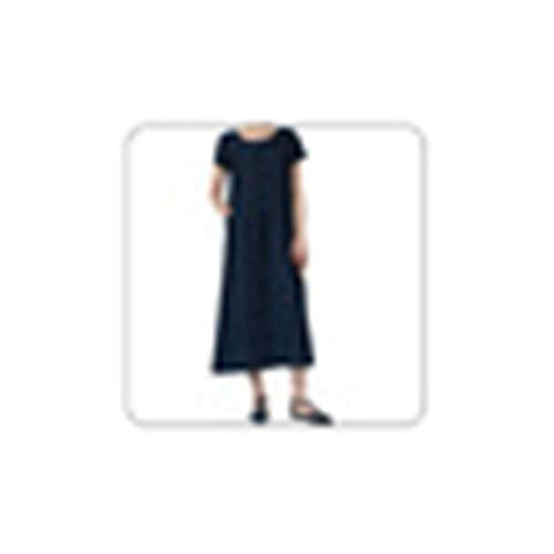 Maxi Long Dress Casual Summer Fashion Women Solid O-Neck Short Sleeve Linen Two Pockets Ruched Casual Dress#G3 Navy Blue XXL Old Navy Floral Romper