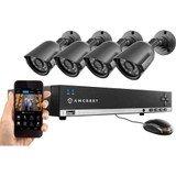 Amcrest 960H 4CH Video Security System - Four 800+ TVL Dome IP66 Weatherproof Cameras (Black)