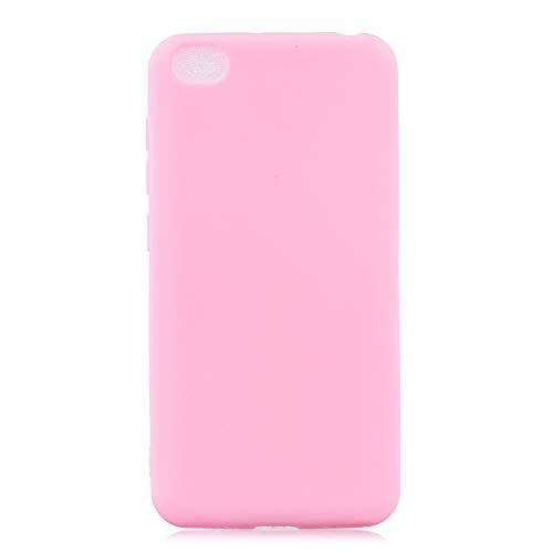 cuzz Funda para Xiaomi Redmi GO+{Protector de Pantalla de Vidrio Templado} Carcasa Silicona Suave Gel Rasguño y Resistente Teléfono Móvil Cover-Rosa Oscuro