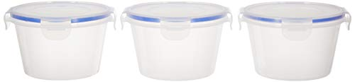 Amazon Brand - Solimo Plastic Kitchen Storage Container Set, 750ml, 3-Pieces, Blue