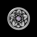 Purple Rhinestone Snap Button Flower Chunk Charm
