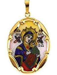 14kt amarillo 25x 19.5mm Nuestra Señora Del Perpetuo Socorro (Porcelana, pintada a mano