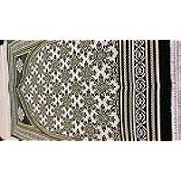 De luxe rembourré Tapis de prière avec taillé dans un motif fleurs Crème/vert