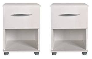 Modena Pair Bedside Tables White Flat Pack 1 Drawer Bedside Cabinet *Brand New*Size = (W) 34cm (D) 35cm (H) 47cm
