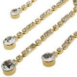 Empire Silber Moderne Kronleuchter (Victorian Vintage Jewellery Set, Empire Line Design, Clear Swarovski Crystals on 14k Gold Plated Setting.)