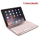 Keyboard Case Compatible with iPad PRO 9.7 Inch/iPad Air 2-LED 7 Colors Backlit