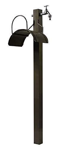 Caleido-Concept Wasserzapfsäule Wassersäule Zapfsäule Toskana 100 mit Schlauchhalter Metall Lackiert beigegrau, Bodenständer