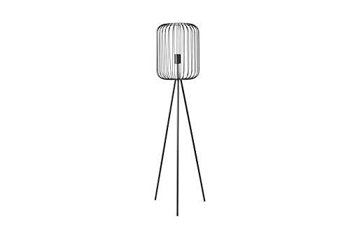LIFA LIVING 90 cm Moderne Metall Wohnzimmerlampe E27 mit Ständer und Schirm, Schwarze Stehlampe im Industrie Design