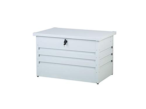 Beliani Outdoor Kissenbox Auflagenbox aus Metall weiß Gartentruhe Cebrosa