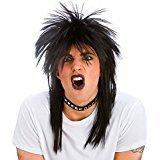 80's Rocker Black Wig Adults Fancy Dress Rock Star Celebrity 1980s Costume Wig