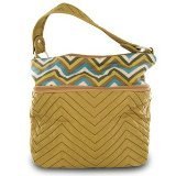 travelon-quilted-nylon-zip-top-train-case-tan-zig-zag-pattern