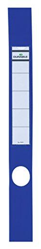 Durable 809106 Ordofix Ordnerrückenschilder (selbstklebend, mit Loch, dünne Ordner) Beutel à 10 Stück blau