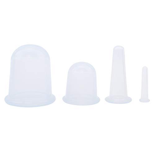 VWH 4 Stücke Körper Anti Cellulite Silikon Vakuum Dosen Massage Entspannung Auge Hals Gesicht Zurück Massage Schröpfen Tasse Saug Health Care Tool (weiß)