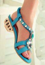 Aisun Femme Sexy Strass Bout Ouvert Sandales Bleu
