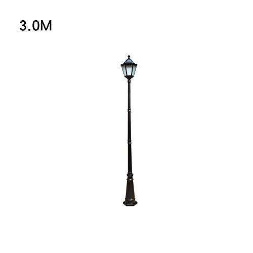 3 Säule Stehlampe (Europäische Hof Lampe Hohe Pole Lampe Pathway Beleuchtung IP55 Wasserdichte Pfosten Säule Laterne Glas Straßenlaterne Garten Stehlampe E27 (Color : Black-H-3.0m))