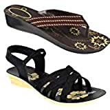 WORLD WEAR FOOTWEAR Women Multicolour Latest Collection Sandal & Slippers-Pack of 2 (Combo-(2)-5022-983)