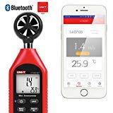 UNI-T UT363BT Bluetooth Anemometer Handheld Mini Digital Anemometer mit Thermometer und Max/Min für Wetterdaten und Outdoor-Sport Windsurfen Segeln mit Hintergrundbeleuchtung LCD-Display