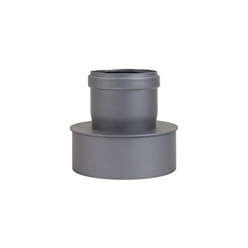 Pelletrohr Ofenrohr Pellet Rauchrohr Kaminrohr Erweiterung Ø 80mm auf 130 mm Ø 80mm auf 150 mm grau schwarz (Ø 80mm auf 130 mm, schwarz) -