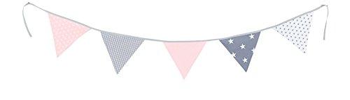 ULLENBOOM ® Wimpelkette Rosa Grau (Stoff-Girlande: 1,9 m Länge, 5 Wimpel, farbenfrohe Deko für Kinderzimmer & Baby Geburtstage, Motiv: Sterne)