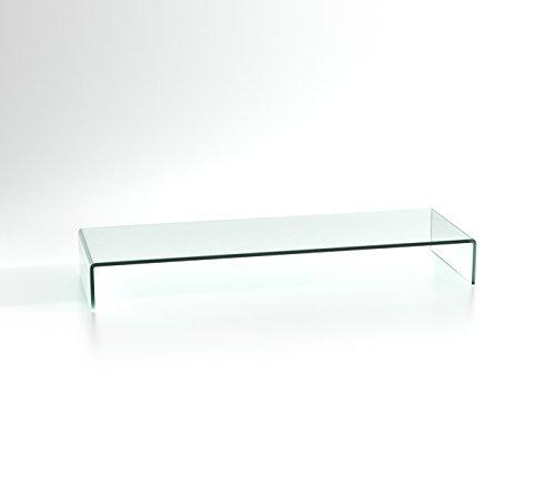 DURATABLE® Lapdesk aus Glas in klar 900 mm x 130 mm x 300 mm LCD TV Tisch TV Aufsatz Monitor Tisch TV Erhöhung Glas -