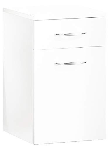 FACKELMANN Unterschrank SCENO/gedämpfte Scharniere & Soft-Close/Maße (B x H x T): ca. 40 x 65 x 36,5 cm/Badschrank / 1 Schublade & 1 Tür/Türanschlag frei wählbar/Korpus: Weiß/Front: Weiß