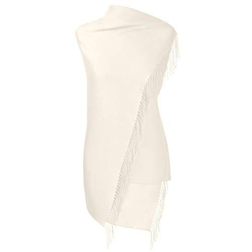 Fiolini Pashmina Schal Stola Umschlagtücher Tuch für Damen - Super Weich - (elfenbein)